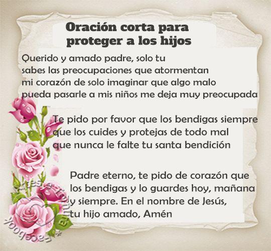 Oración corta para proteger a los hijos