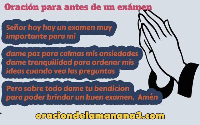 Oración para antes de un exámen