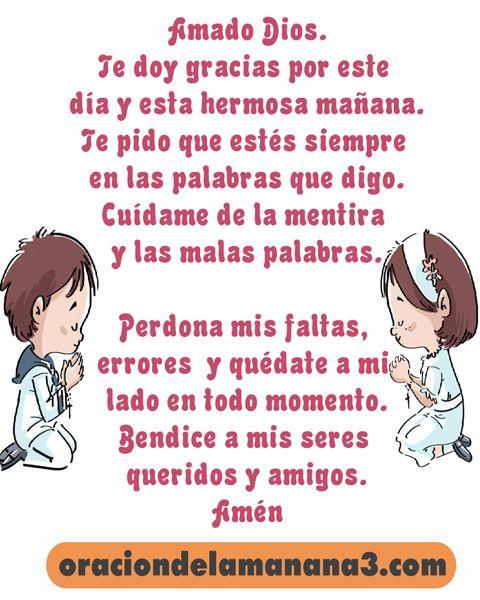 Oración corta para niños en la mañana